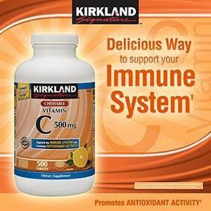 Kirkland Signature™ Vitamin C 500 mg. Hộp 500 viên ngậm