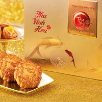 Bánh Trung Thu Kinh Đô Trăng Vàng Hoàng Kim Vinh Hoa Đỏ Vàng ( 4 bánh 200g + hộp trà Olong 100g)
